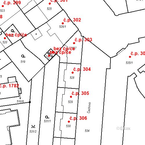 Katastrální mapa Stavební objekt České Budějovice 6 304, České Budějovice