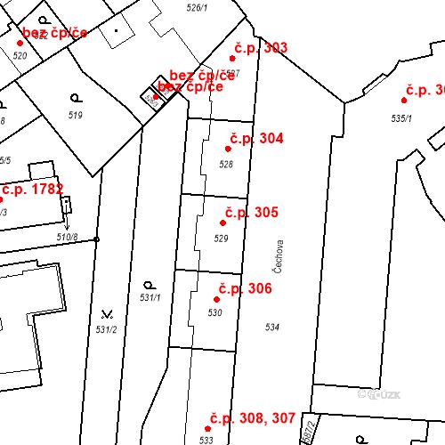 Katastrální mapa Stavební objekt České Budějovice 6 305, České Budějovice