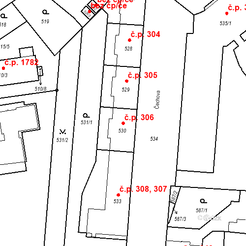 Katastrální mapa Stavební objekt České Budějovice 6 306, České Budějovice
