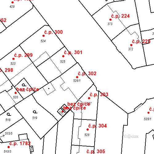 Katastrální mapa Stavební objekt České Budějovice 6 302, České Budějovice