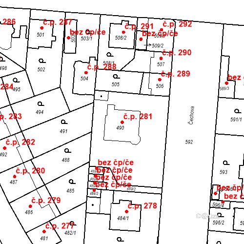 Katastrální mapa Stavební objekt České Budějovice 6 281, České Budějovice