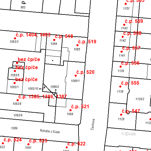 Katastrální mapa Stavební objekt České Budějovice 6 520, České Budějovice