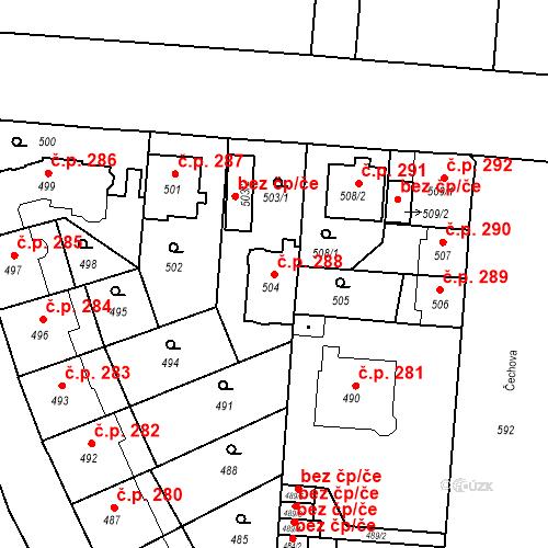 Katastrální mapa Stavební objekt České Budějovice 6 288, České Budějovice