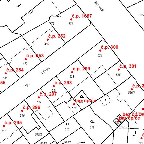 Katastrální mapa Stavební objekt České Budějovice 6 299, České Budějovice