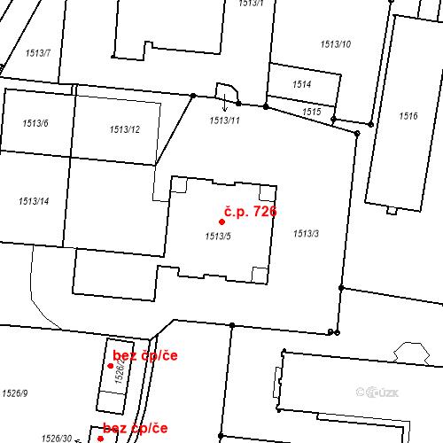 Katastrální mapa Stavební objekt České Budějovice 6 726, České Budějovice