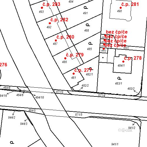 Katastrální mapa Stavební objekt České Budějovice 6 277, České Budějovice