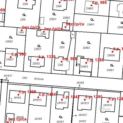 Katastrální mapa Stavební objekt České Budějovice 6 988, České Budějovice