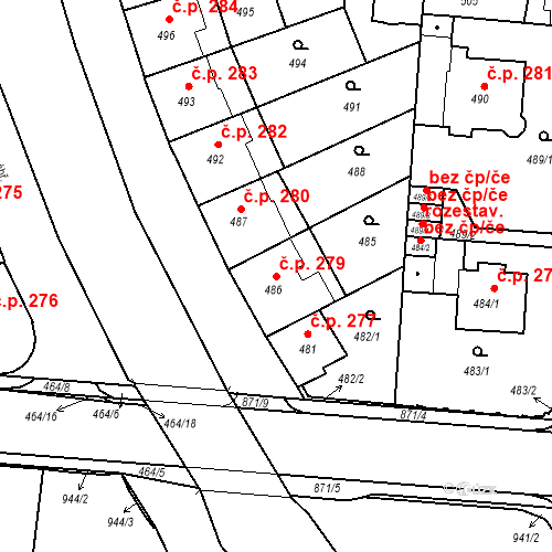 Katastrální mapa Stavební objekt České Budějovice 6 279, České Budějovice