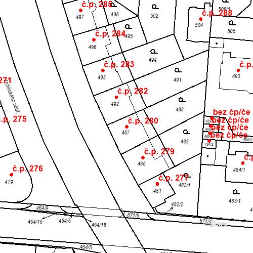Katastrální mapa Stavební objekt České Budějovice 6 280, České Budějovice