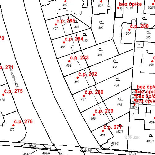 Katastrální mapa Stavební objekt České Budějovice 6 282, České Budějovice