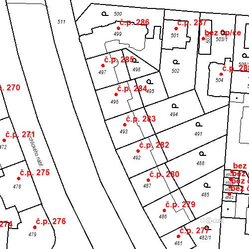 Katastrální mapa Stavební objekt České Budějovice 6 283, České Budějovice