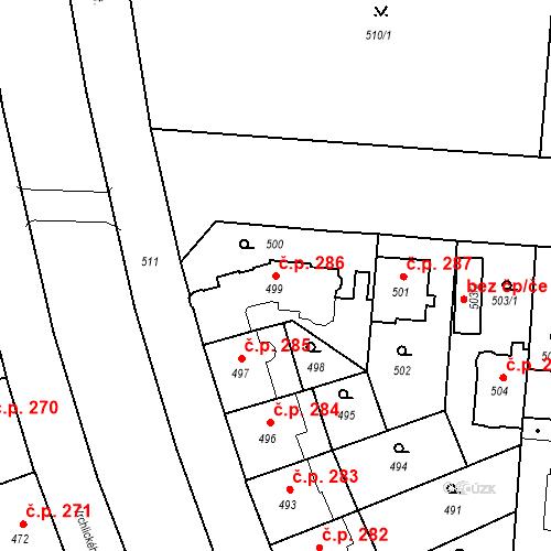 Katastrální mapa Stavební objekt České Budějovice 6 286, České Budějovice