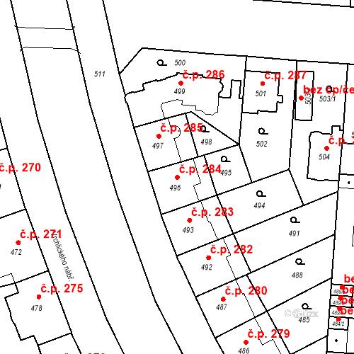 Katastrální mapa Stavební objekt České Budějovice 6 284, České Budějovice
