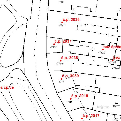 Katastrální mapa Stavební objekt České Budějovice 3 2038, České Budějovice