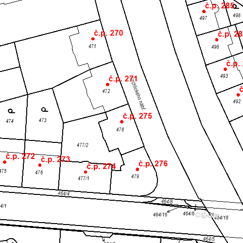 Katastrální mapa Stavební objekt České Budějovice 6 275, České Budějovice