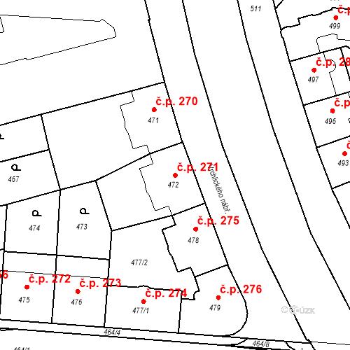 Katastrální mapa Stavební objekt České Budějovice 6 271, České Budějovice
