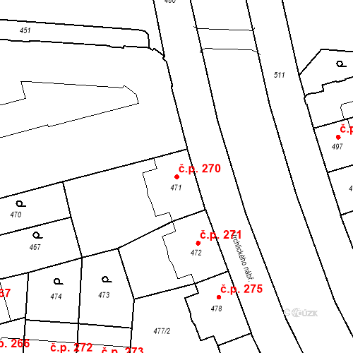 Katastrální mapa Stavební objekt České Budějovice 6 270, České Budějovice
