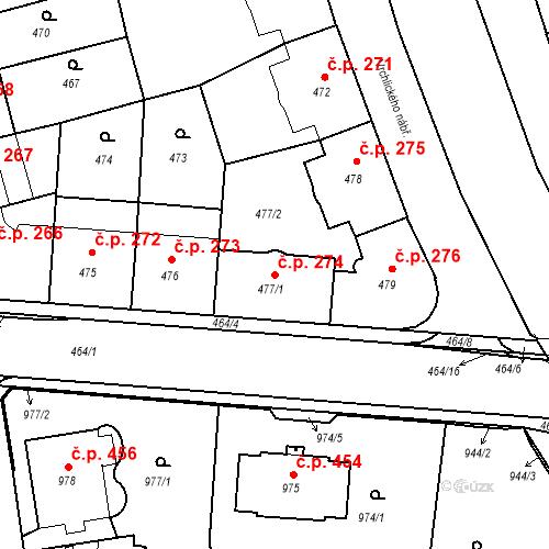 Katastrální mapa Stavební objekt České Budějovice 6 274, České Budějovice