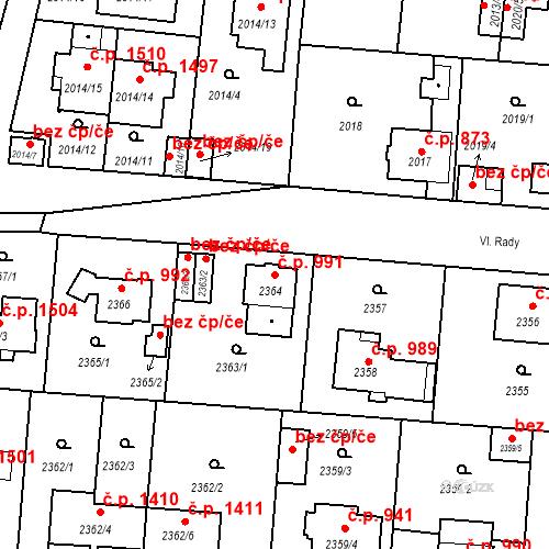 Katastrální mapa Stavební objekt České Budějovice 6 991, České Budějovice