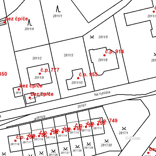 Katastrální mapa Stavební objekt Dobřichovice 953, Dobřichovice