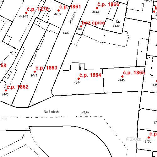 Katastrální mapa Stavební objekt České Budějovice 3 1864, České Budějovice