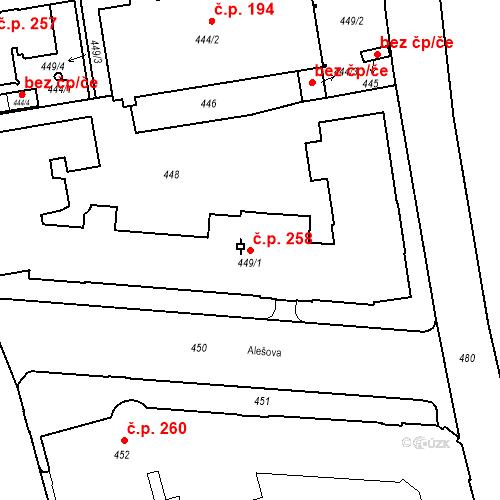 Katastrální mapa Stavební objekt České Budějovice 6 258, České Budějovice
