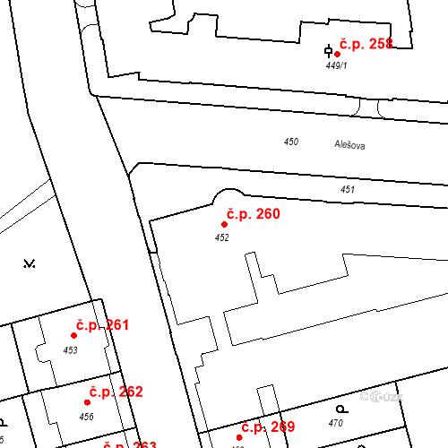 Katastrální mapa Stavební objekt České Budějovice 6 260, České Budějovice