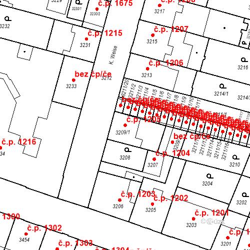 Katastrální mapa Stavební objekt České Budějovice 3 1205, České Budějovice