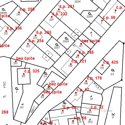 Katastrální mapa Stavební objekt Bohušovice nad Ohří 121, Bohušovice nad Ohří