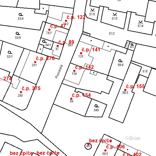 Katastrální mapa Stavební objekt Bohušovice nad Ohří 142, Bohušovice nad Ohří
