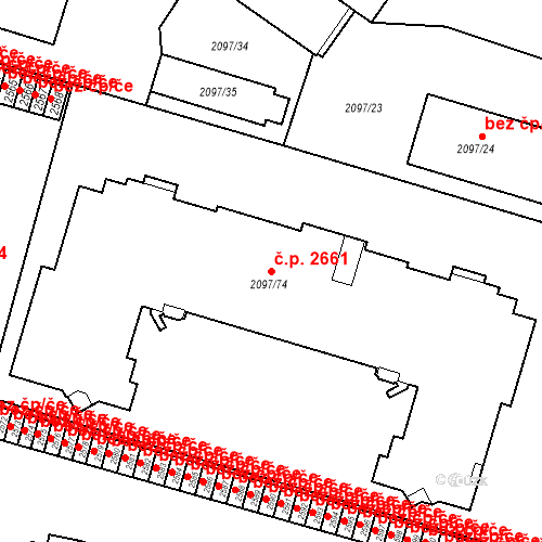 Katastrální mapa Stavební objekt České Budějovice 3 2661, České Budějovice