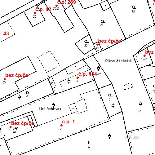 Katastrální mapa Stavební objekt Dobřichovice 434, Dobřichovice