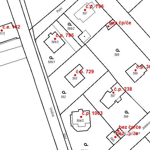 Katastrální mapa Stavební objekt Dobřichovice 729, Dobřichovice