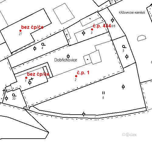Katastrální mapa Stavební objekt Dobřichovice 1, Dobřichovice