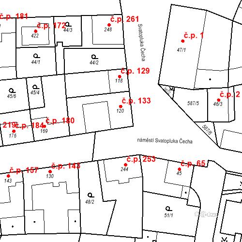 Katastrální mapa Stavební objekt Bohušovice nad Ohří 133, Bohušovice nad Ohří