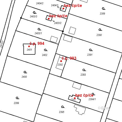 Katastrální mapa Stavební objekt České Budějovice 6 993, České Budějovice