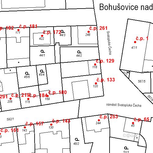 Katastrální mapa Stavební objekt Bohušovice nad Ohří 129, Bohušovice nad Ohří