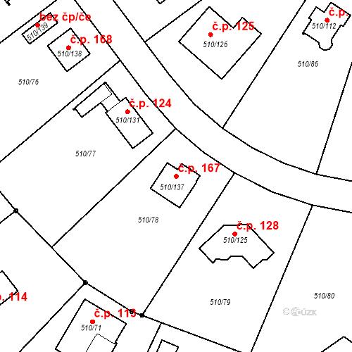 Katastrální mapa Stavební objekt Zahořany 167, Zahořany