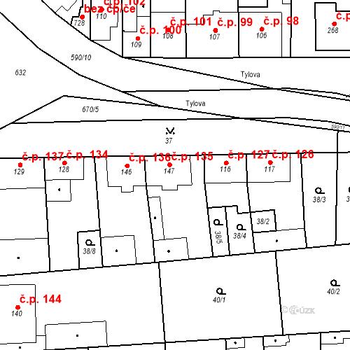 Katastrální mapa Stavební objekt Bohušovice nad Ohří 135, Bohušovice nad Ohří