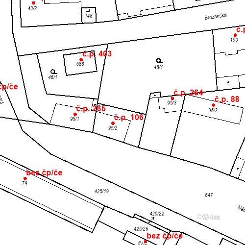 Katastrální mapa Stavební objekt Bohušovice nad Ohří 106, Bohušovice nad Ohří