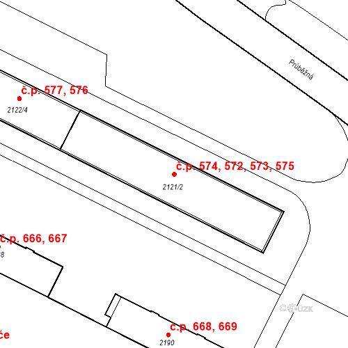 Katastrální mapa Stavební objekt České Budějovice 3 572, 573, 574, 575, České Budějovice