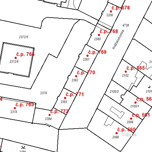 Katastrální mapa Stavební objekt České Budějovice 3 770, České Budějovice