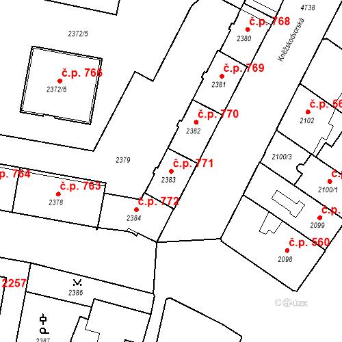 Katastrální mapa Stavební objekt České Budějovice 3 771, České Budějovice