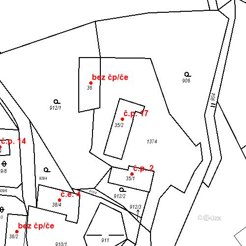 Katastrální mapa Stavební objekt Bláhova Lhota 17, Vysoký Chlumec