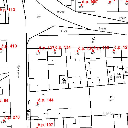 Katastrální mapa Stavební objekt Bohušovice nad Ohří 134, Bohušovice nad Ohří