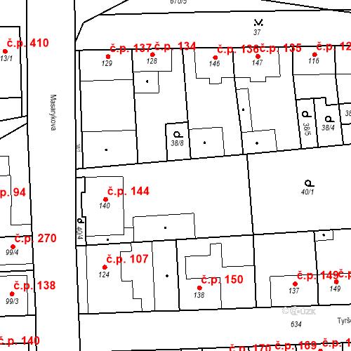 Katastrální mapa Stavební objekt Bohušovice nad Ohří 144, Bohušovice nad Ohří