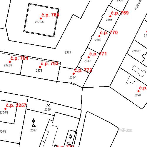 Katastrální mapa Stavební objekt České Budějovice 3 772, České Budějovice