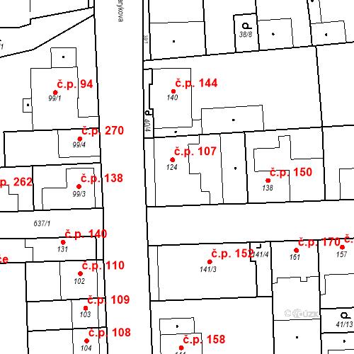 Katastrální mapa Stavební objekt Bohušovice nad Ohří 107, Bohušovice nad Ohří