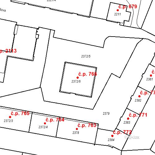 Katastrální mapa Stavební objekt České Budějovice 3 766, České Budějovice