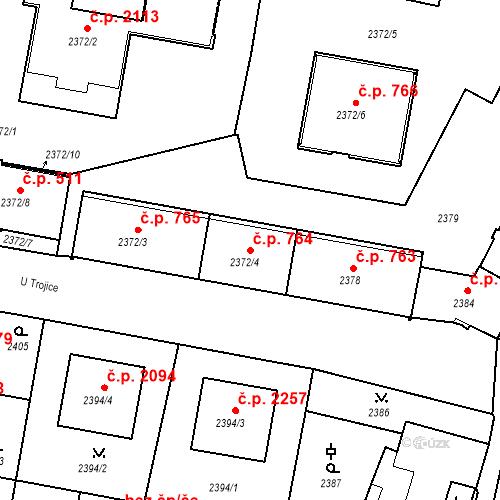 Katastrální mapa Stavební objekt České Budějovice 3 764, České Budějovice
